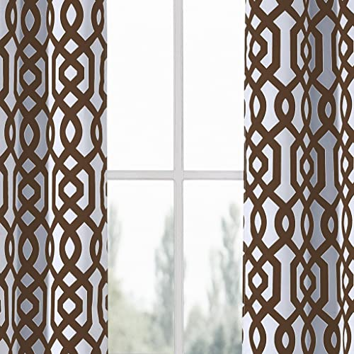 Heavy Blackout Insulated Geometric Grommet Top Window Curtain Pair Panel Drape Covering For Your Livingroom, Bedroom Assorted Colors 38 by 84 Inch, Set of 2 Panels – Brown