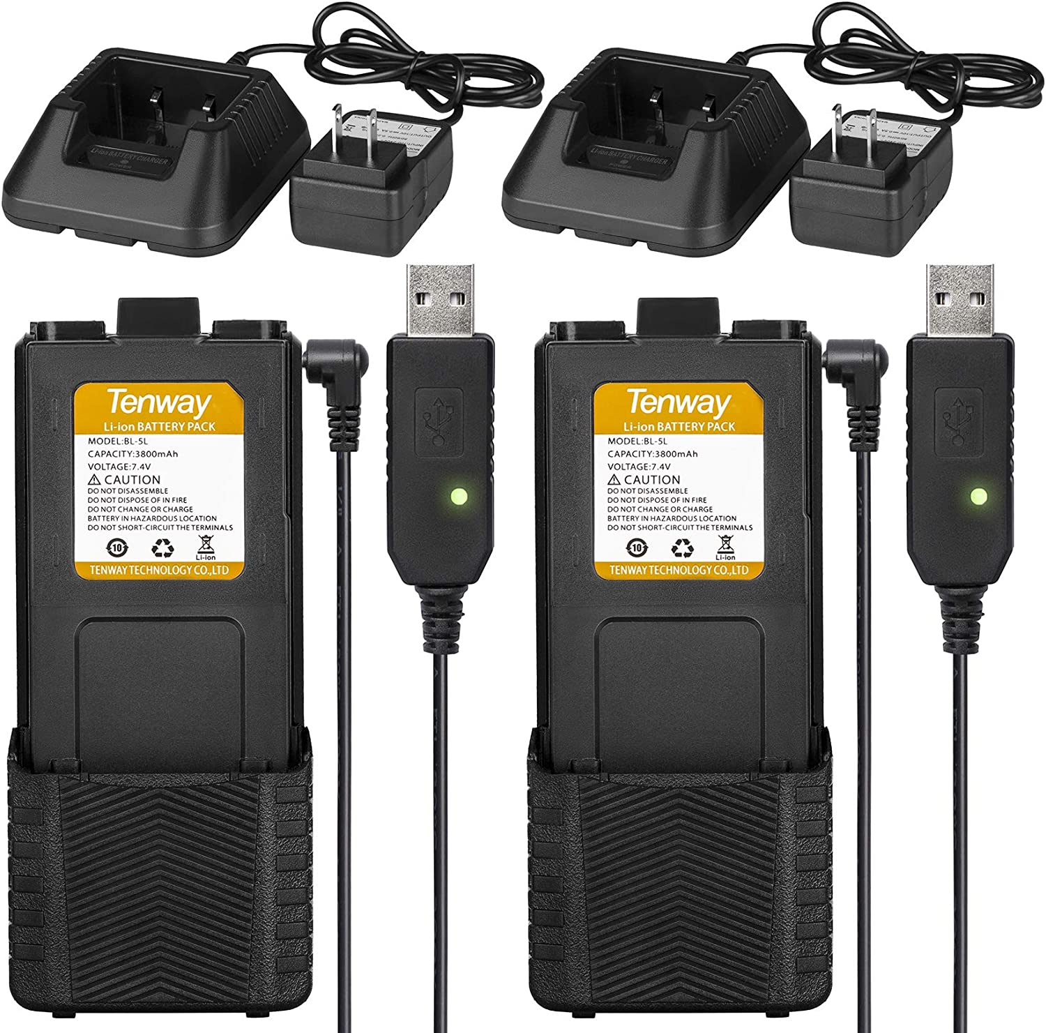 2Pcs Extended Batteries BL-5L 3800 mAh Rechargeable Battery with USB Charging Cable and Battery Chargers Compatible with BAOFENG UV-5R BF-F8HP UV-5RX3 RD-5R UV-5RTP UV-5R+, UV-5X3 by Tenway