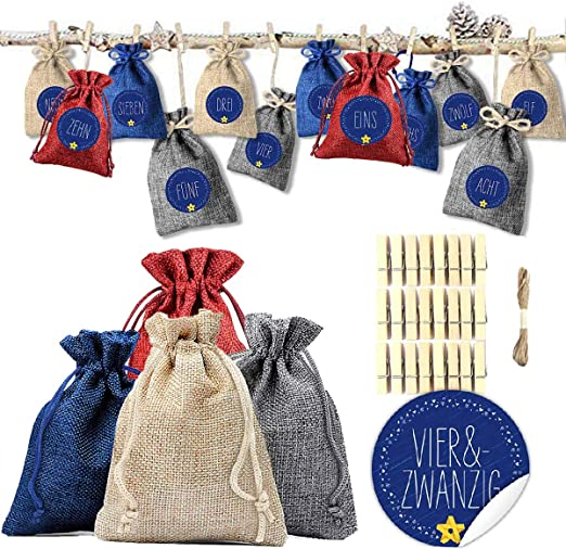 HI Adventskalender mit 24 Säckchen Weihnachtskalender zum Selbstbefüllen Advent