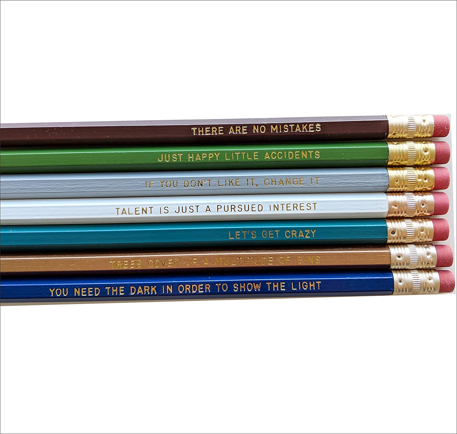 Happy Little Trees Pop Icon Artist Gift Quotes Engraved Pencil Set Gold Foil Pencil Set Engraved Pencils Back To School Funny Pencils Gift for College Student Gift
