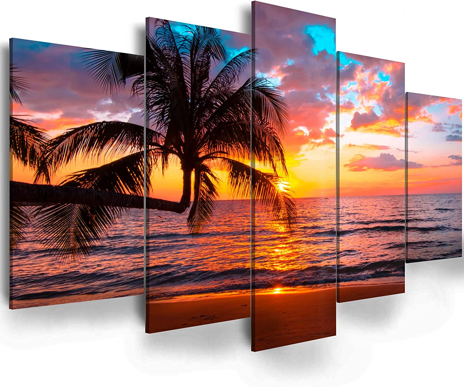 "Red Sunset Canvas Wall Art - Ephany Art - Red Ocean Sea Painting 5 Pieces Modern Canvas Painting Wall Art Colorful Sunset Over Ocean Seascape Picture Print On Canvas Giclee Artwork For Wall Decor (B-5pcs,40""x20"")"