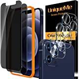 """[2+3 Pack] UniqueMe Privacy Screen Protector Compatible with iPhone 12 Pro 6.1"""" and Camera lens Protector Tempered Glass, Ant"""
