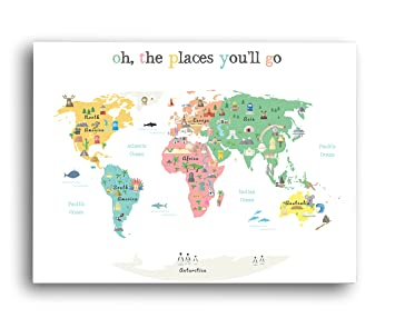 Amazon.com: World Map Wall Art, Oh the Place You'll Go, Travel Map