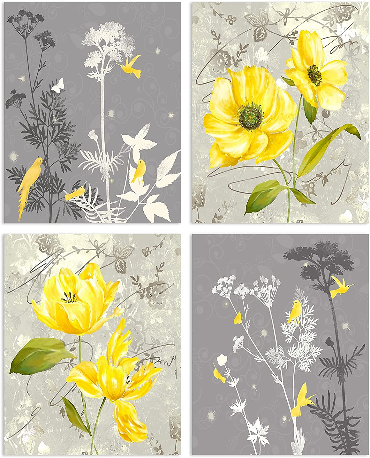 """VIIVEI Yellow and Grey Flowers Wall Art Painting Set of 4 (8""""X10"""", Unframed) Grey & Yellow Poster Bird on Blooming Flowers Painting for Bathroom Bedroom Room Office Wall Modern Home Decor"""