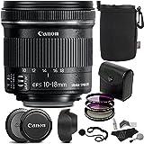 Canon EF-S 10-18mm f/4.5-5.6 IS STM Lens + Polaroid Optics 67mm 3 Piece Filter + Ritz Gear Medium Neoprene Protective Pouch + 5 Piece Camera Cleaning Kit + Polaroid Cap & Strap