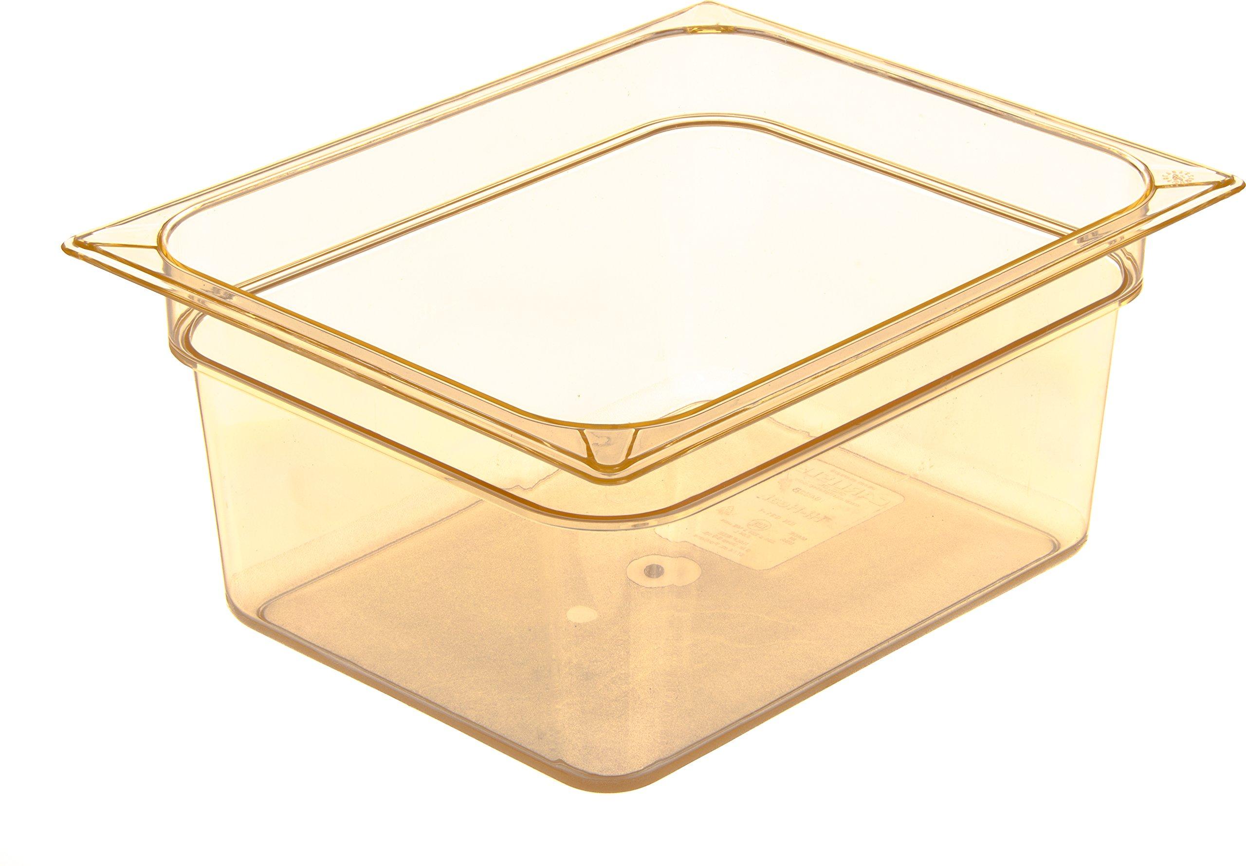 Carlisle 10422B13 High Heat One-Half Size Food Pan, 8.7-quart Capacity, 6'' x 10.38'' x 12.75'', Amber (Case of 6)