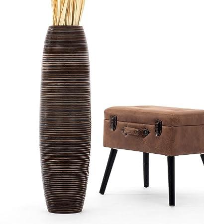 Leewadee Tall Big Floor Standing Vase For Home Decor 90 Cm Mango Wood Brown Amazon Co Uk Kitchen Home