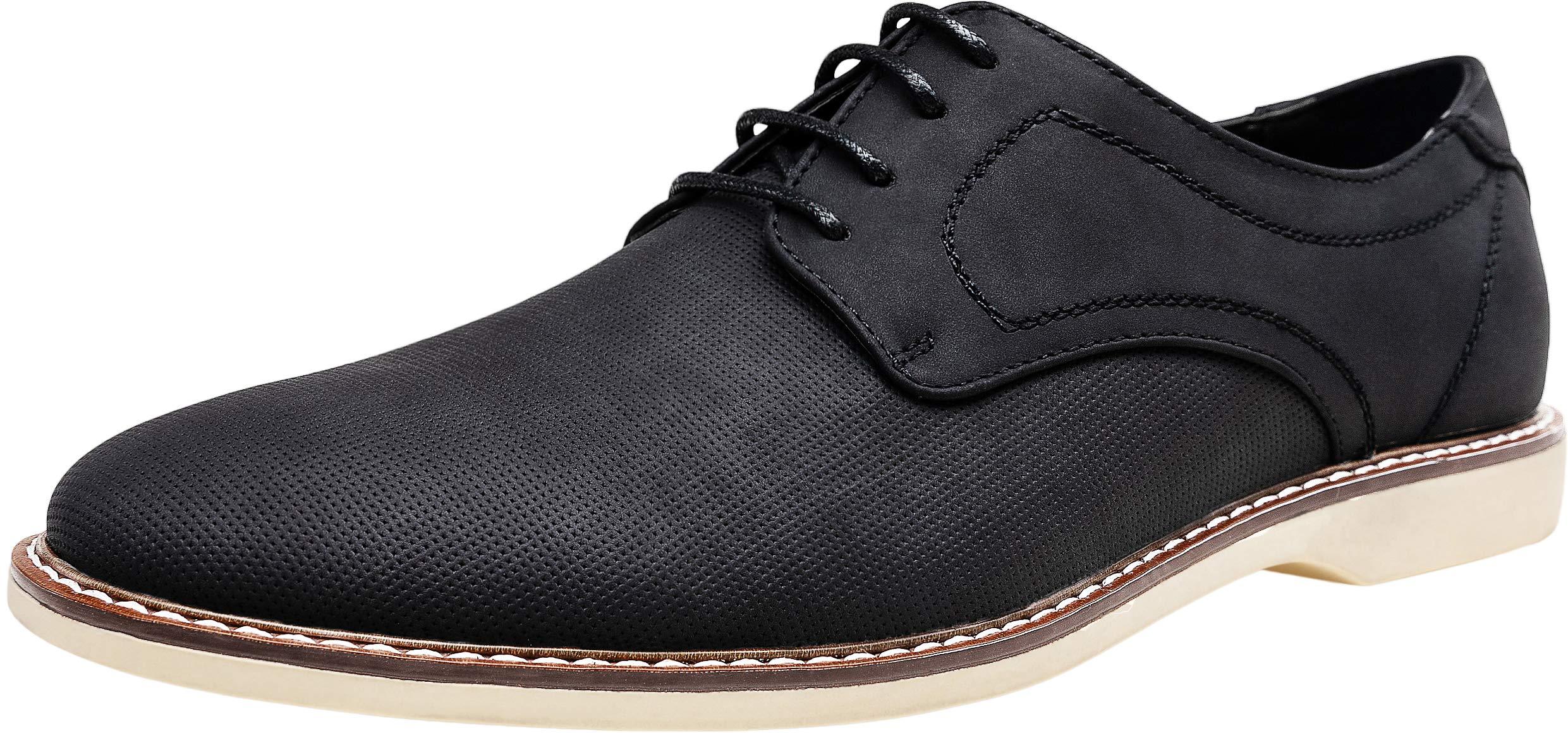 JOUSEN Men's Oxford Shoes Classic Breathable Shoe Plain Toe Business Casual Shoes Men (12,Black-f)