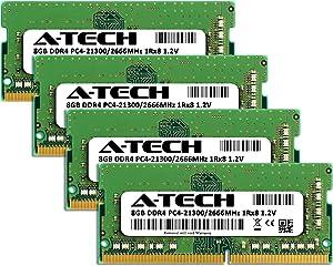 A-Tech 32GB Kit (4x8GB) DDR4 2666MHz RAM for Apple 2019 & 2020 iMac 27 inch Retina 5K (iMac19,1 iMac20,1 iMac20,2) | PC4-21300 SO-DIMM 260-Pin Memory Upgrade