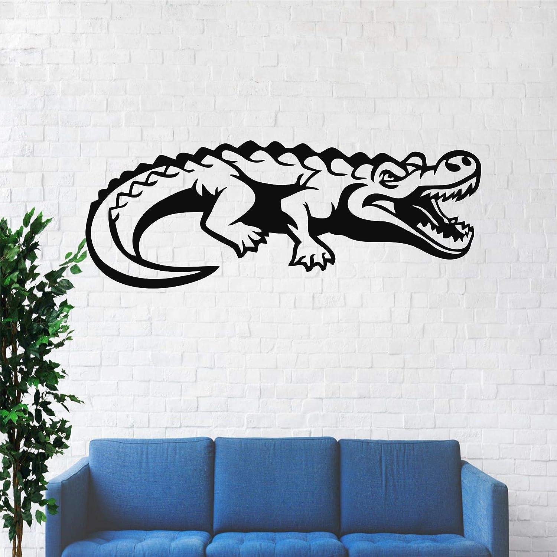 d/écoration Murale en m/étal Crocodile en m/étal d/écoration de Salon Animal 18 W x 7.4 H // 45x19 cm Noir d/écoration int/érieure DEKADRON D/écoration Murale en m/étal
