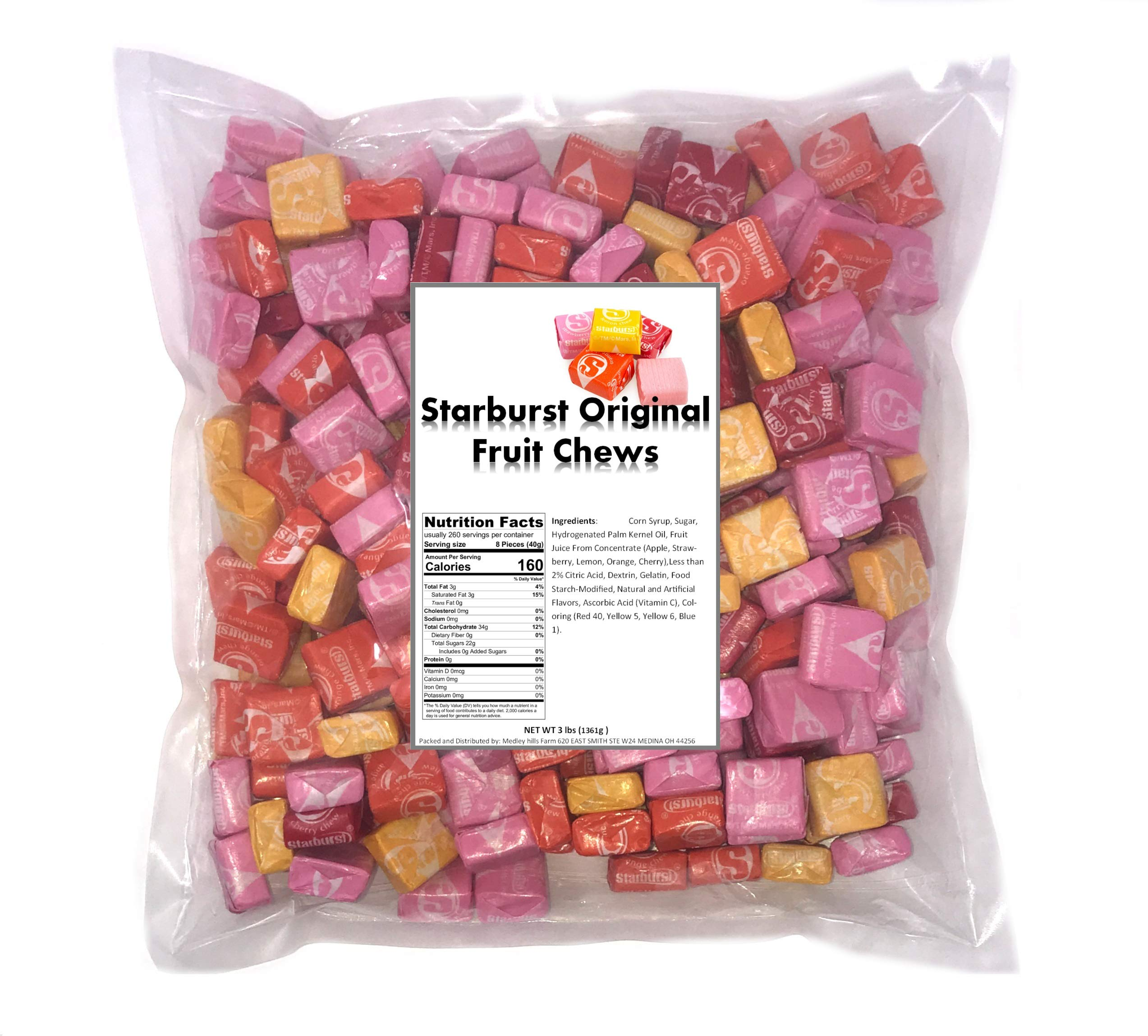 Medley Hills Farm Starburst Original Fruit Chews 3 LB Bag, Assorted Fruity Candy - Cherry, Strawberry, Lemon, Orange Flavored, Contains About 260 Pieces Bulk Candy Individually Wrapped