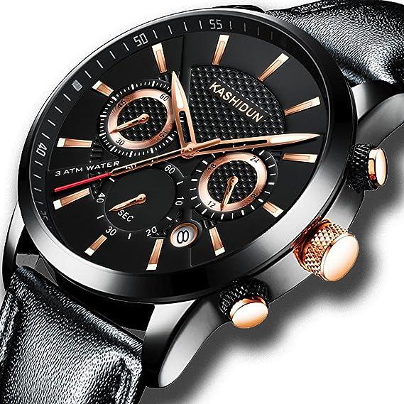 KASHIDUN Relojes Hombre Acero Inoxidable Reloj de Pulsera de Lujo Moda Cronómetro (B 17)