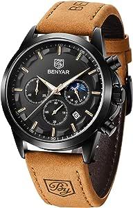 BY BENYAR Reloj para Hombre Sports Casual Fecha analógica Diseñador Cronógrafo Resistente al Agua Reloj de Cuarzo para Hombre