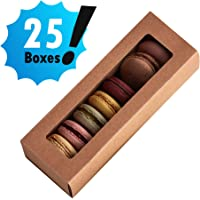 Essos Macaron Boxes for 6 to 7 Brown (Kraft) with Clear Display Window [25 pieces] Macarons Container or Packaging Box Kit for Chocolate Truffles Cake Pops Desserts Mini Cupcakes Cookies or Muffins