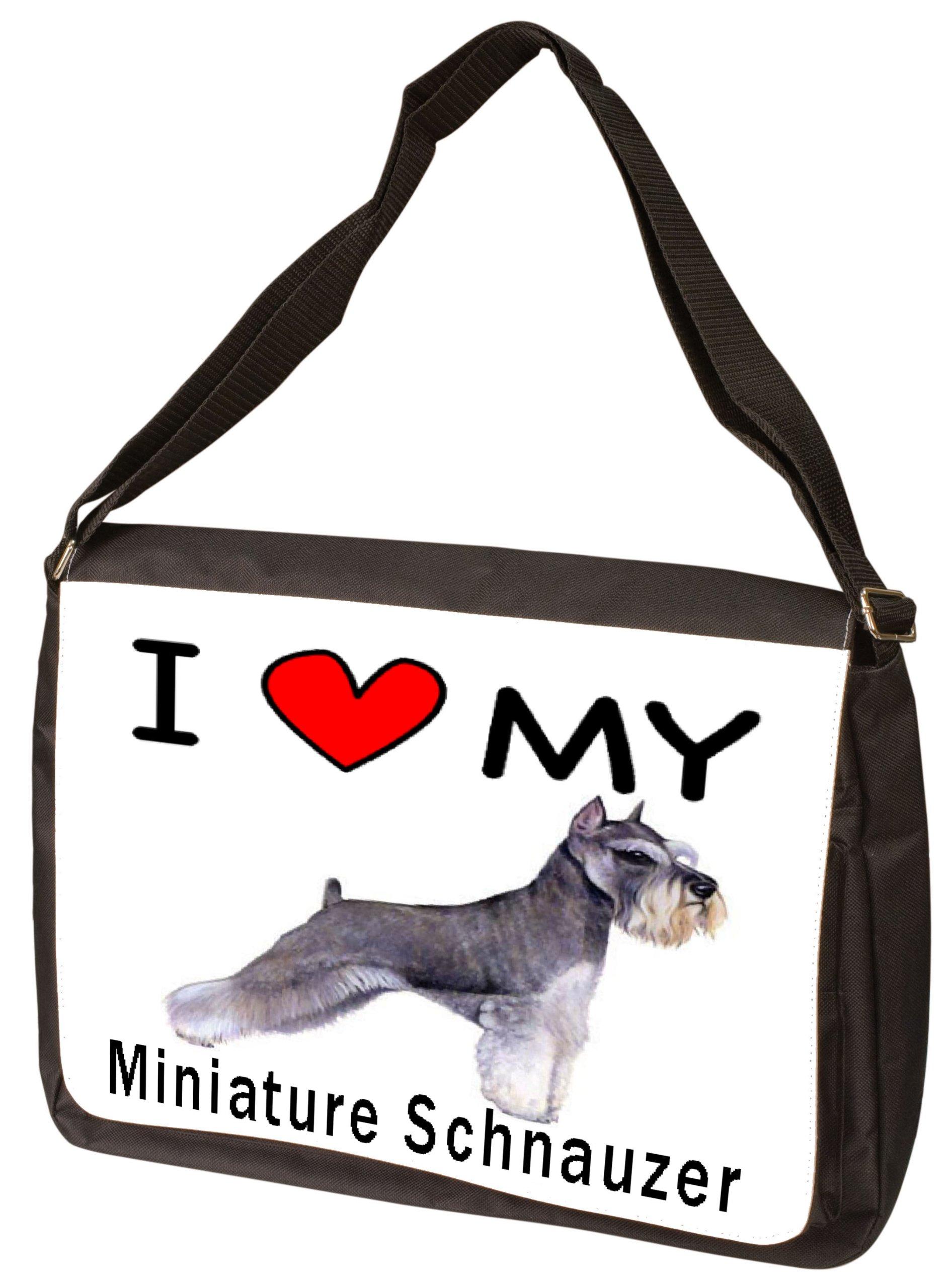 I Love My Miniature Schnauzer Laptop Bag - Shoulder Bag - Messenger Bag
