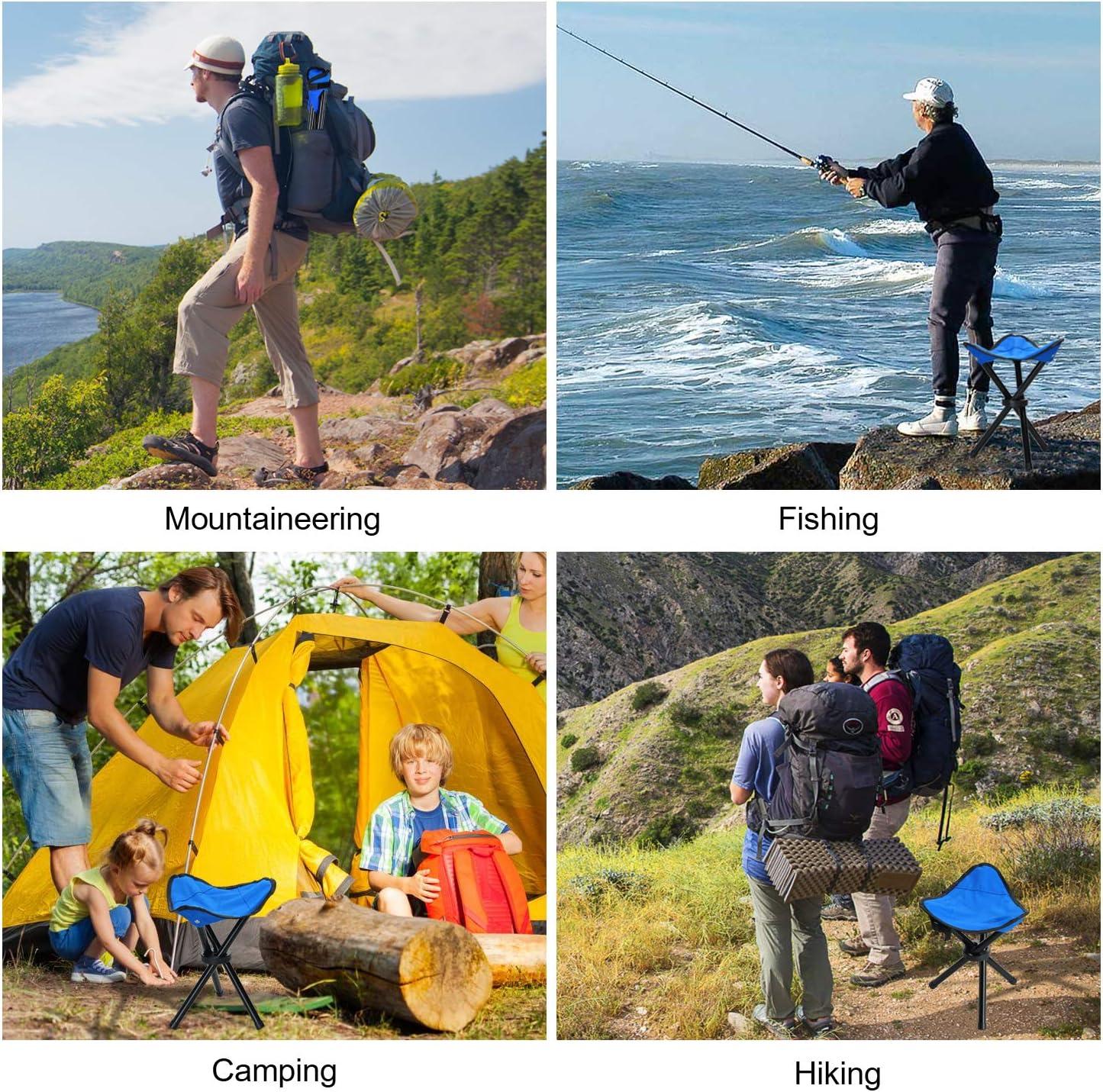 Songway Sedia Sgabello Pieghevole per treppiede Portatile Leggero per Campeggio allaperto Pesca Escursionismo e Spiaggia Supporto 225 libbre
