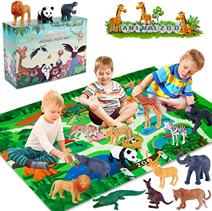 Lion GiftInTheBox Safari Animal Figurines Toys with Activity Play Mat Giraffe Realistic Plastic Jungle Wild Zoo Animals Figures Playset with Elephant Boys Panda,Gift for Kids