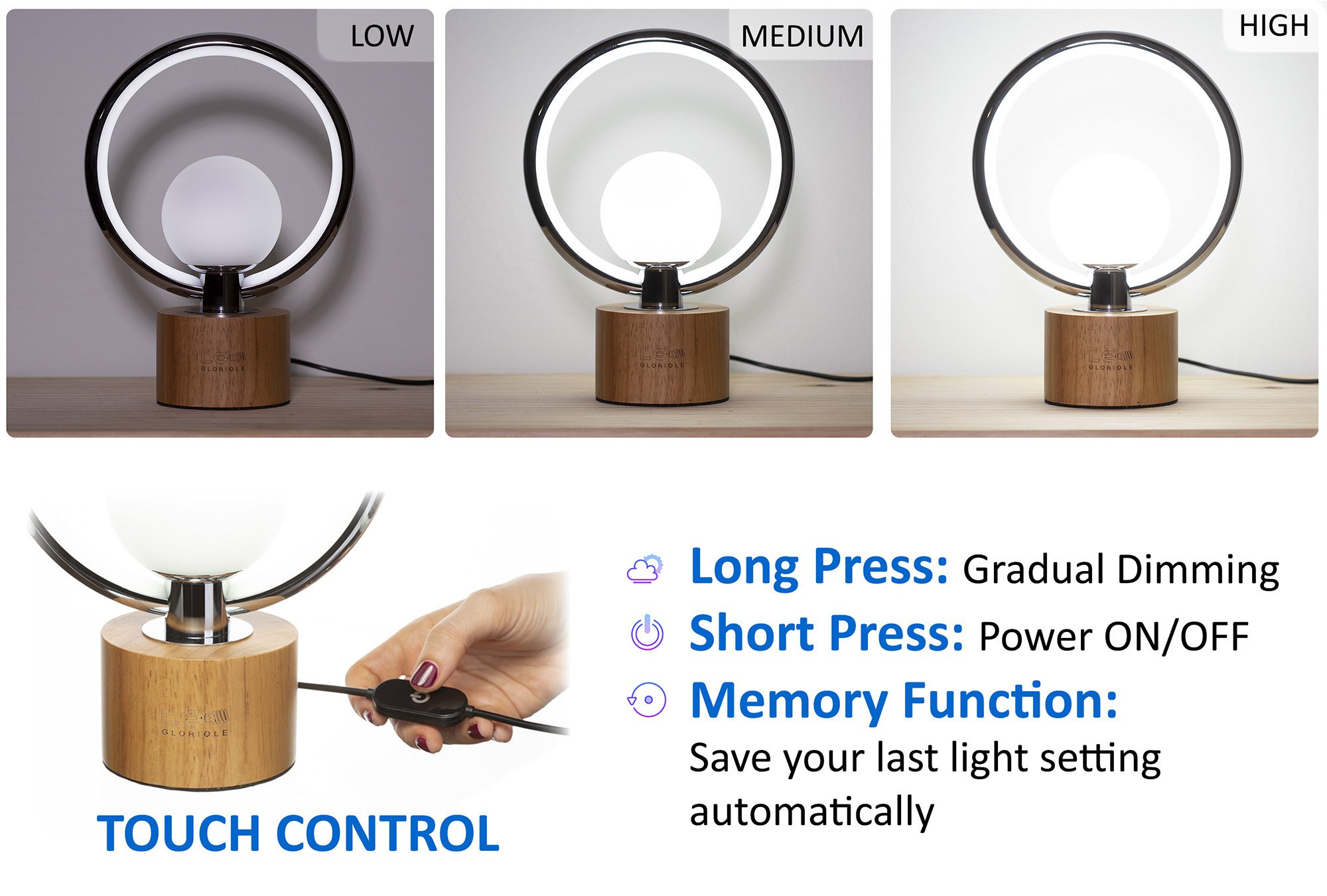 Modern LEDGloriole Desk Lamp with Unique Shade – Bedroom Lamps with Natural Wooden Base – Luxury Bedside Table Lamp – Well-Designed LED Light Perfect for Bedroom or Office by LEDGloriole (Image #3)