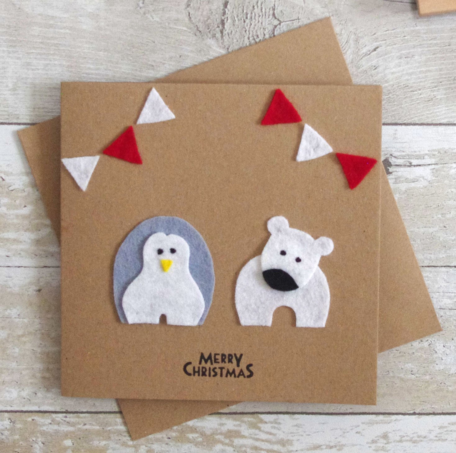 Ideas For Christmas Cards Handmade.Penguin Polar Bear Christmas Card Handmade Felt Xmas Card