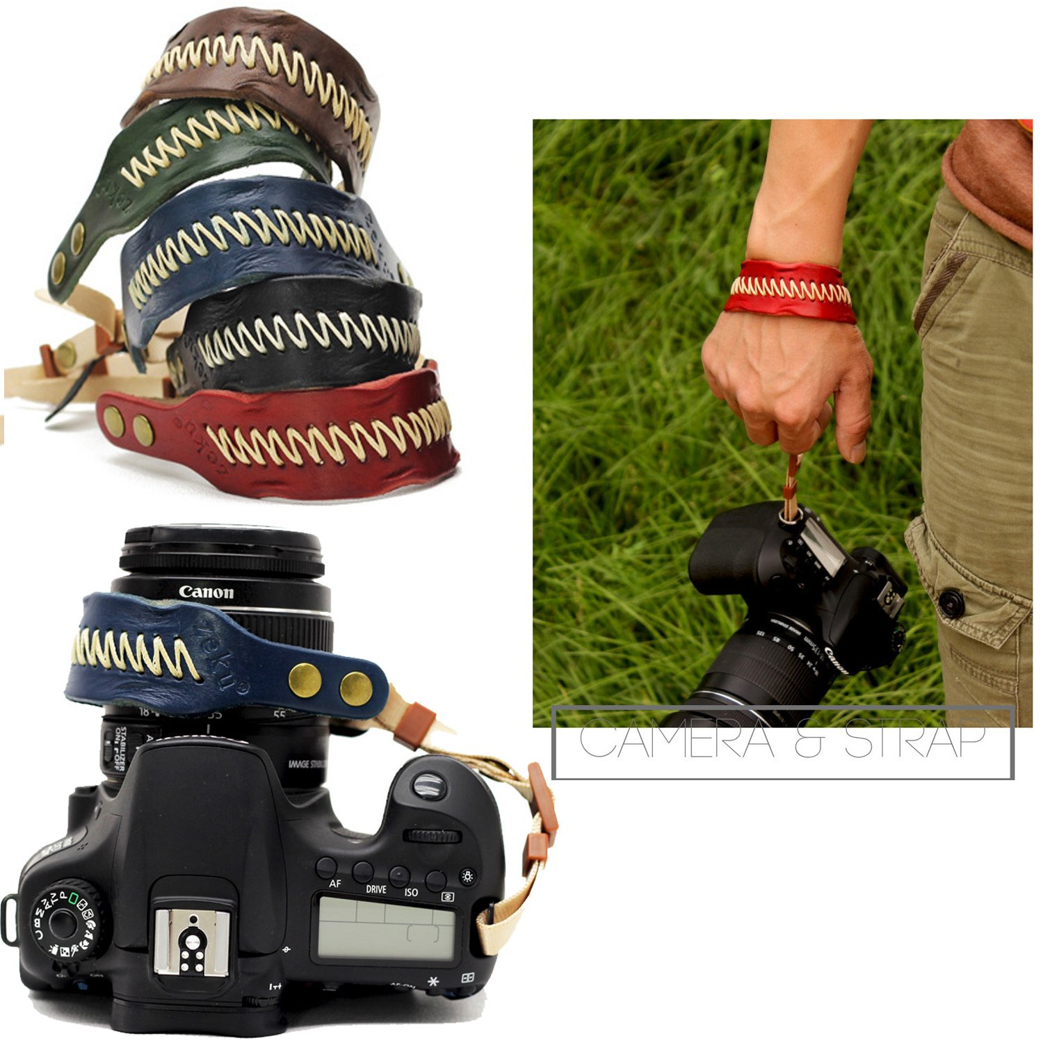 Nicad Camera Leather Wrist Strap - Comfort Padding  Enhanced Hand Grip Stability and Security for All DSLR Cameras Canon Nikon Sony Pentax Olympus(Blue) nicad NW-B