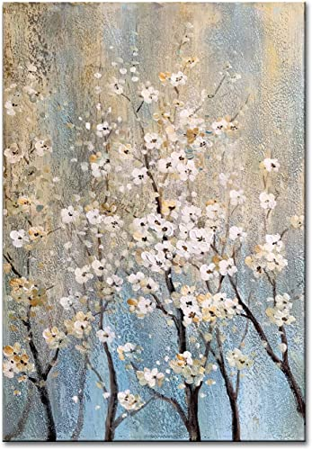 FLY SPRAY 1-Piece 100 Hand Painted Oil Paintings Canvas Wall Art Tree Flowers Gold