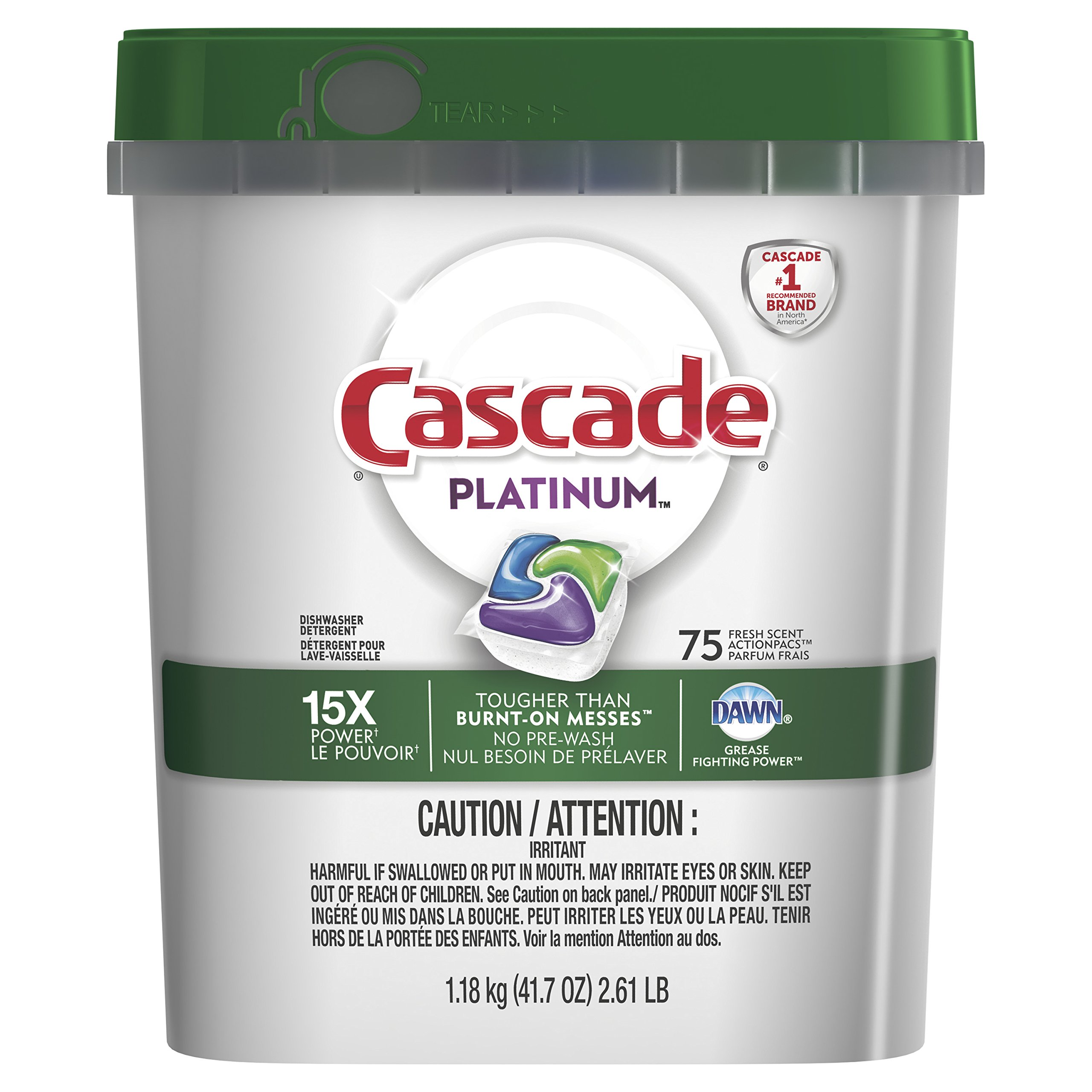 Cascade Platinum ActionPacs Dishwasher Detergent, Fresh Scent, 75 count, packaging may vary product image
