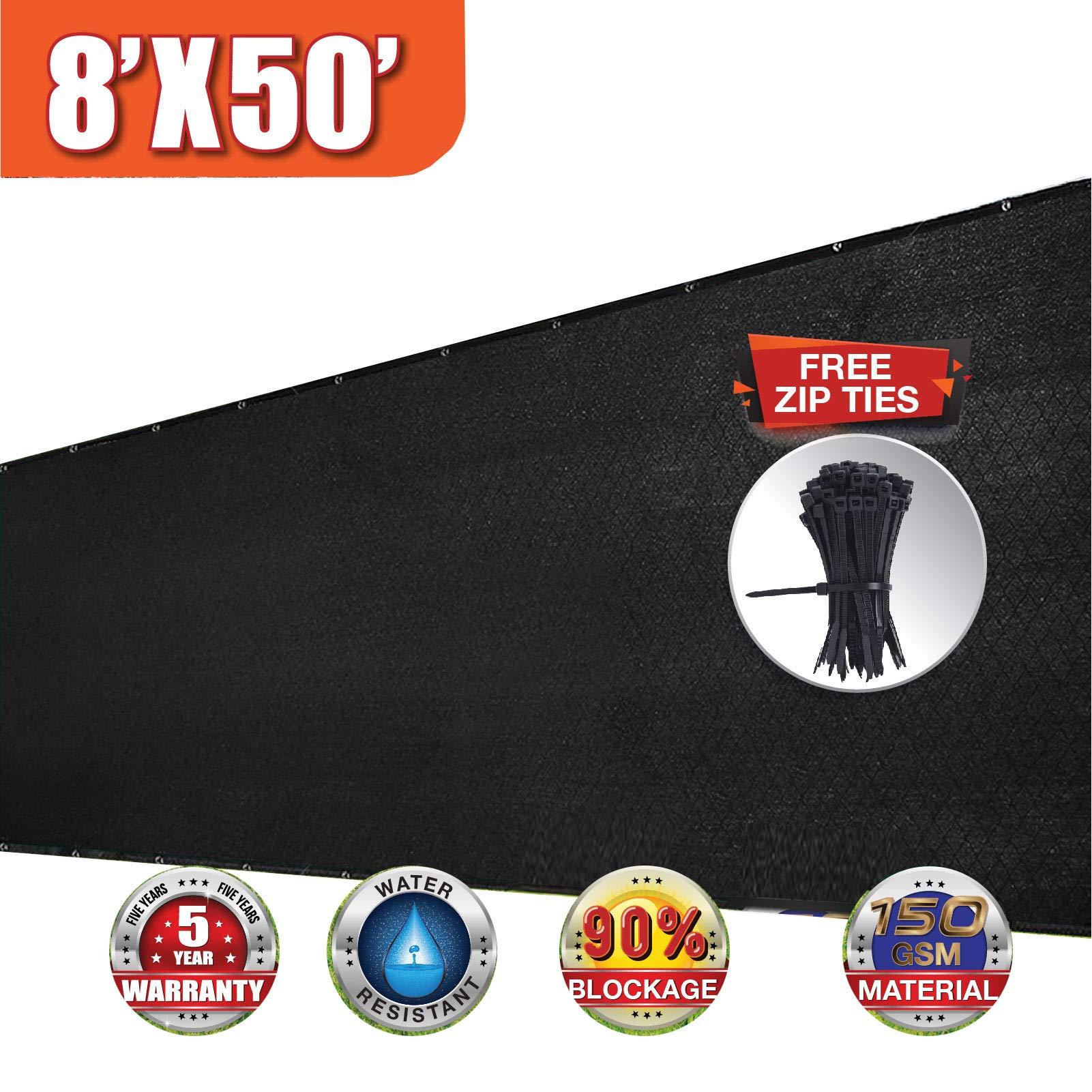 EVERGROW 8' x 50' Black Heavy Duty Privacy Screen Commercial Outdoor Shade Windscreen Mesh Fabric with Brass Grommet 150 GSM 90% UV Blockage Free Zip Ties 8 feet x 50 feet Black