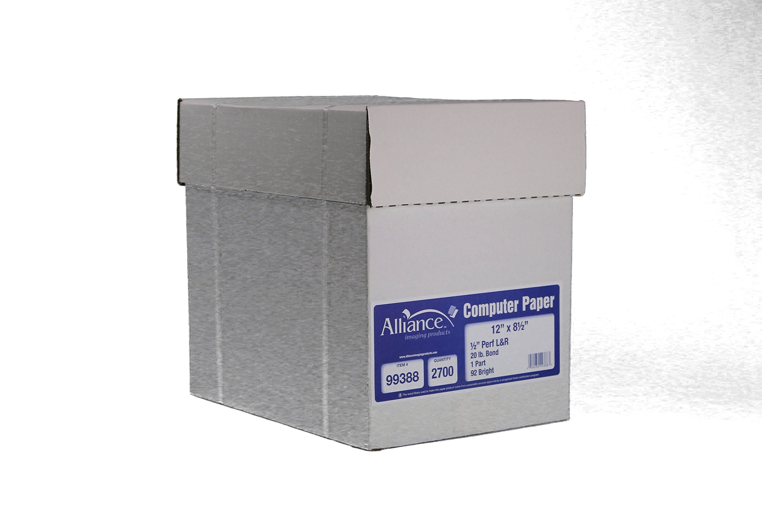 Alliance Continuous Computer Paper 12'' x 8-1/2'' Blank Left & Right Perforated 1-Part 92 Bright 20lb 2700 Sheets per Carton by Alliance (Image #3)