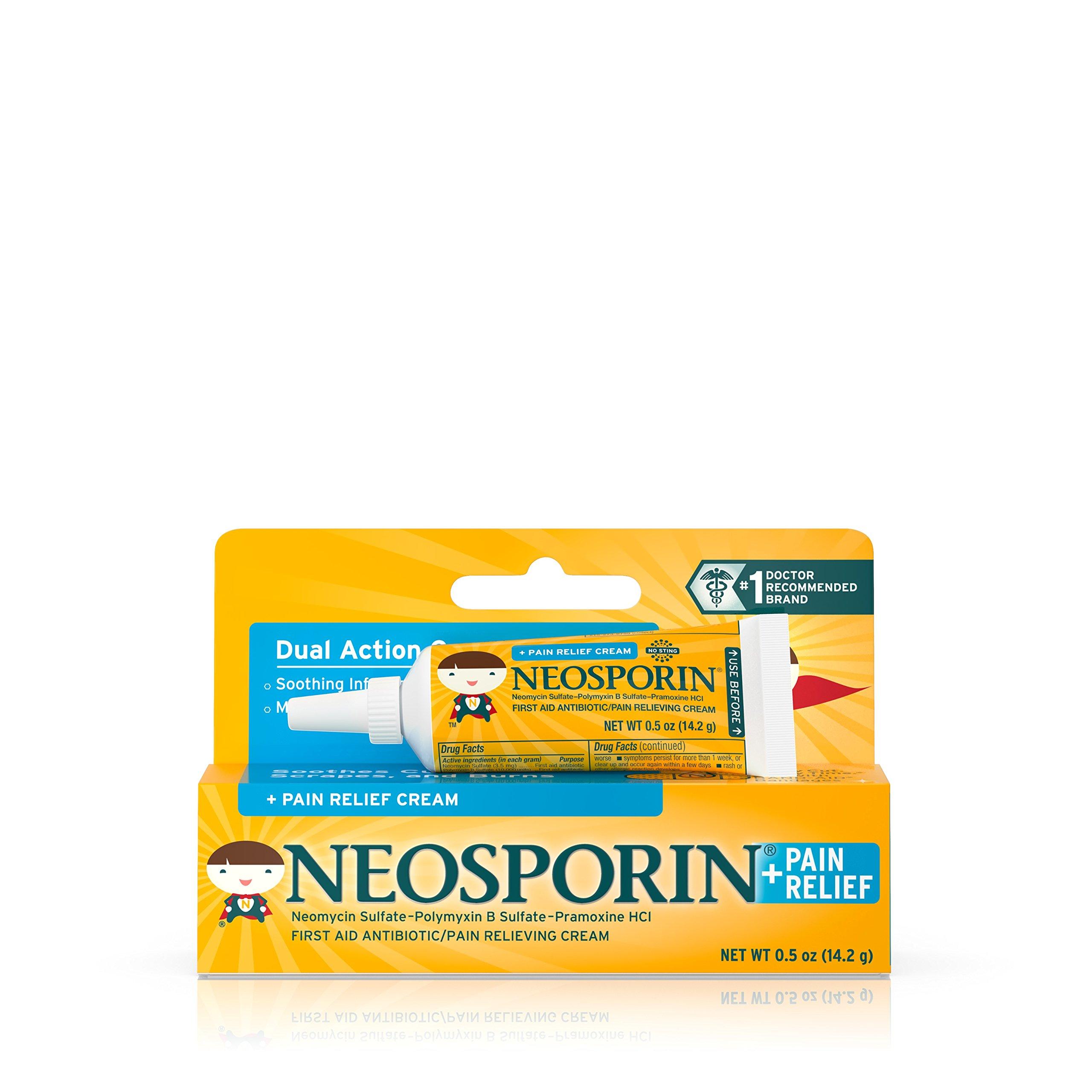 Neosporin + Pain Relief Cream 0.5 oz (Pack of 3)