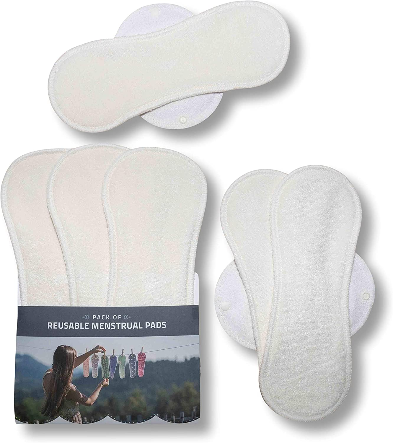 Washable Panty Liners Made in EU 6-Pack Bamboo Reusable Cloth Pads with Wings Size L /& XL Sanitary Napkins for Menstrual Periods and Incontinence; w//o Chemicals for Women Reusable Sanitary Towels