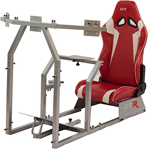 GTR Simulator GTAF-S-S105LRDWHT – GTA-F Model Silver Triple or Single Monitor Stand with Red White Adjustable Leatherette Seat, Racing Simulator Cockpit Gaming Chair Single Monitor Stand