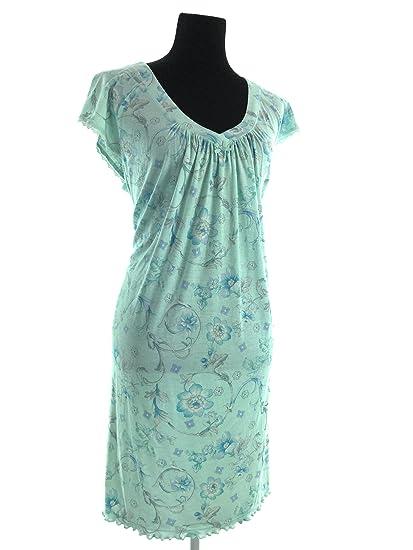 da362c565671 Miss Elaine Cap Sleeve Nightgown (Turquoise Print