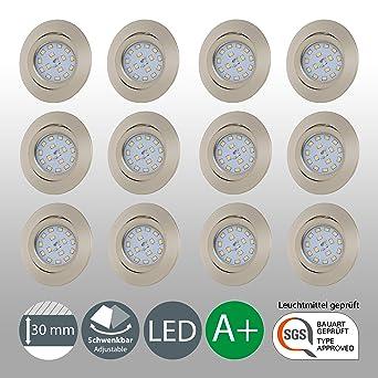 LED Einbaustrahler Schwenkbar Ultra Flach Inkl. 12 x 5W LED Modul ...