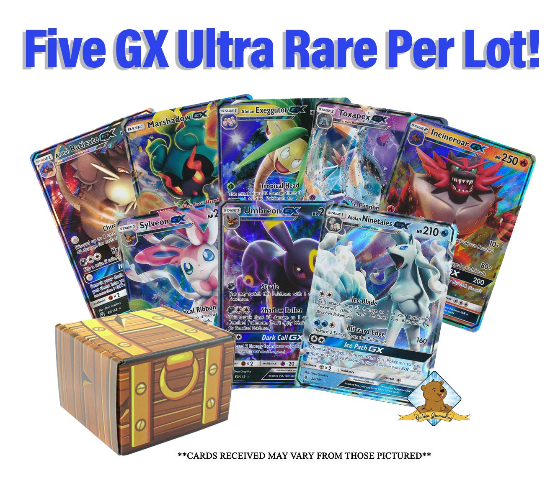 5 Pokemon Card Lot - All GX Ultra RARES! No Duplication! 1 Pokemon Collectible Figure! Includes Golden Groundhog Treasure Chest Storage Box!