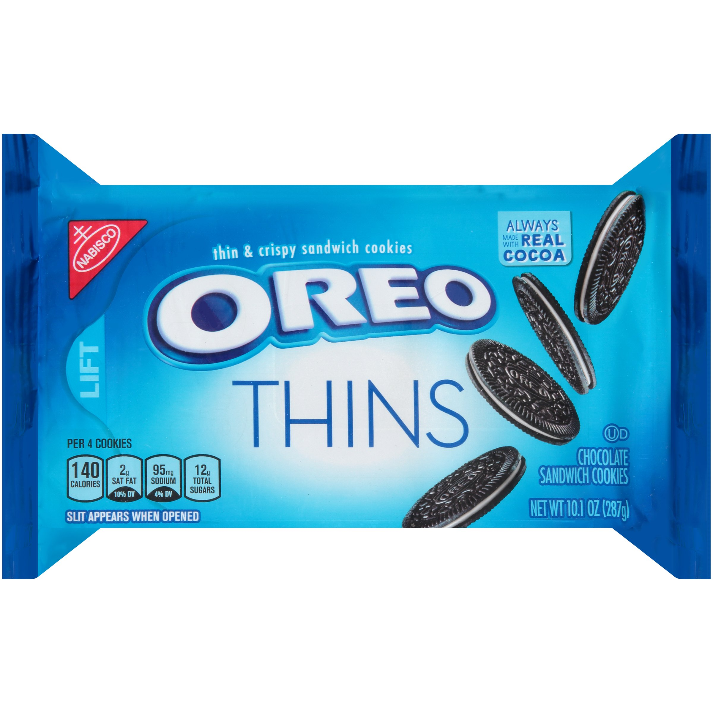 OREO Thins Chocolate Sandwich Cookies, Original Flavor, 12 Resealable 10.1 oz Packs
