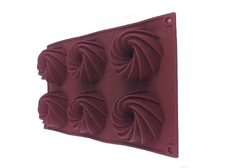 6 molde para pasteles de la torta de la torta de moldes de silicona molde para horno con forma ...