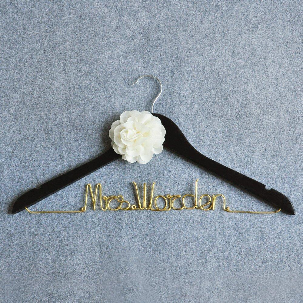 Amazon.com: Custom Wedding Dress Hanger, Personalized Bridal Dress ...
