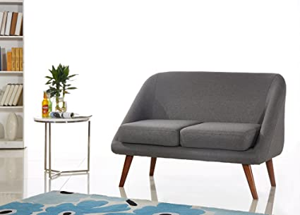 Container Furniture Direct Bentley Collection Modern Fabric Upholstered  Living Room Loveseat, Dark Gray