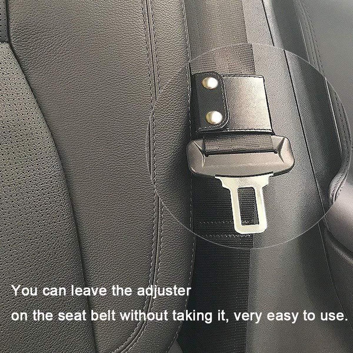 Vehicle Car Seat Belt Safety Positioner Protector Locking Clip Leather Cover Black Comfort Universal Auto Shoulder Neck Strap Positioner Hubs Gadget 4 Pieces Seatbelt Adjuster
