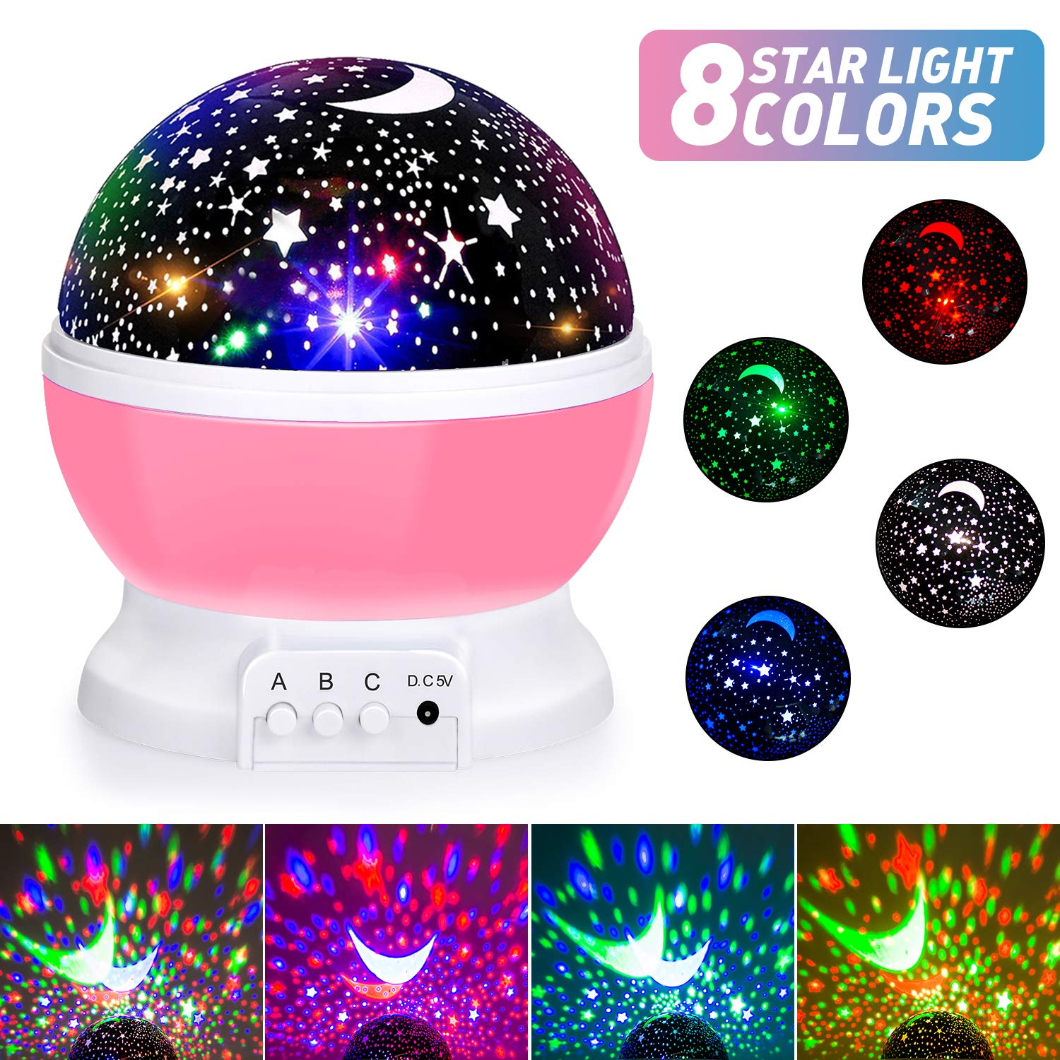 Baby Night Lights, Moon Star Projector 360 Degree Rotation – 4 LED Bulbs 8 Color Changing Light, Romantic Night Lighting…