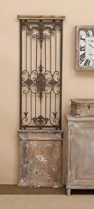 "Deco 79 80944 Metal Wood Wall Gate Makes You Fall in Instant Love, 71"" H x 20"" L, Distressed Brown Finish"