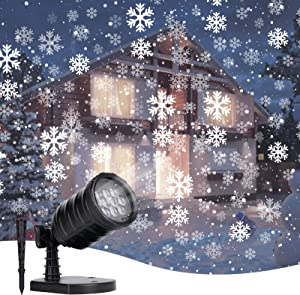 Snowfall Christmas Lights Projector Outdoor: Led Waterproof Rotating Snowflake Landscape Lighting for Halloween Xmas Holiday Indoor Home Party New Year Decoration Show (White)