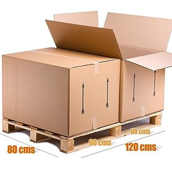 Pack de 4 Cajas de Cartón GIGANTES tipo Baul Doble Pared REFORZADA Lote de 4 unidades TELECAJAS (80x60x55 cms)