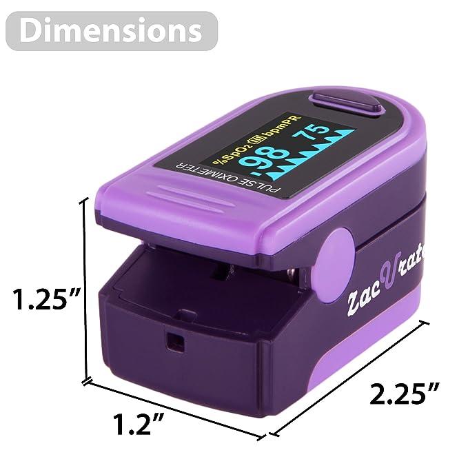 Acc U Rate Pro Series Deluxe CMS 500D - oxímetro de pulso de dedo, monitor de saturación de oxígeno en sangre, con funda de silicona, pilas y cordón, ...