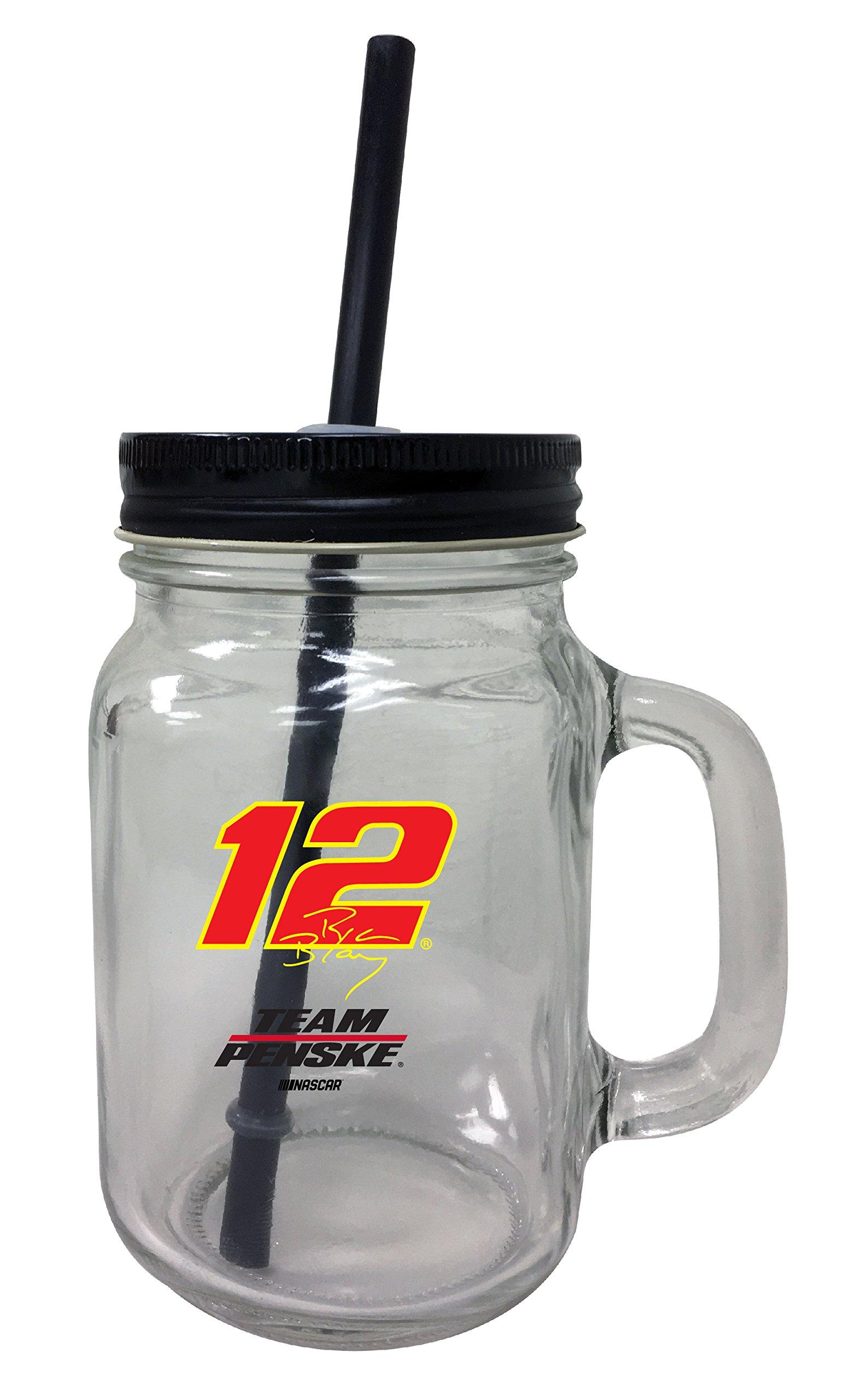 Ryan Blaney #12 Mason Jar Glass Tumbler