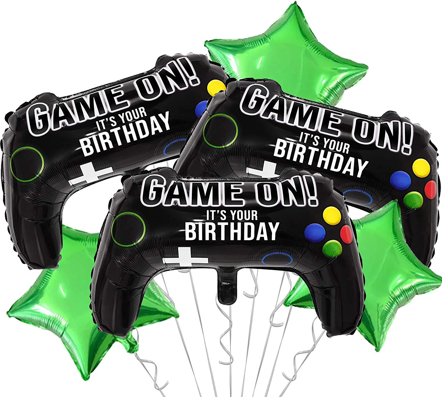OMG Party Factory - Premium Video Game On Balloons Birthday Decorations for Gamers | Party Supplies for Boys Gaming Theme | Level Up Your Decor | Mylar Foil Balloon Set for Kids (Game On Premium Set)