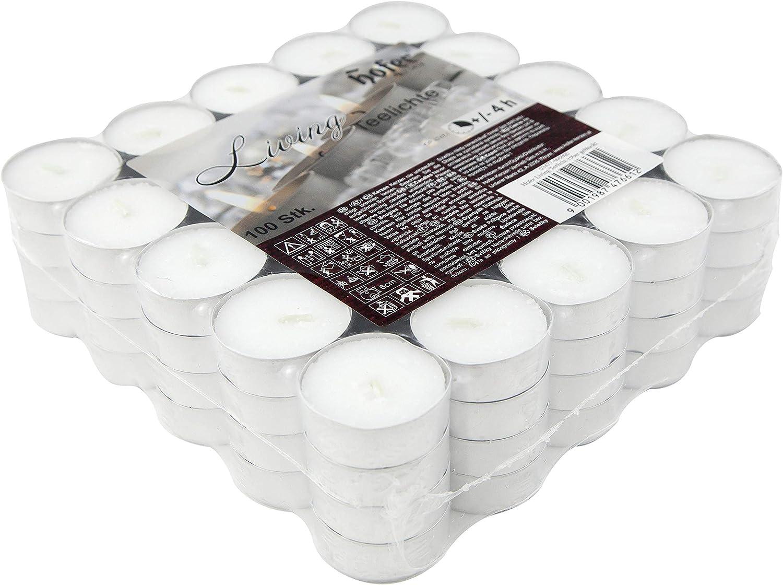 Paquete de 100 piezas Hofer Velas de T/é Tealights Calidad de la UE 4 horas de tiempo de combusti/ón Cera sin Color Blanco Larga duraci/ón 38 mm