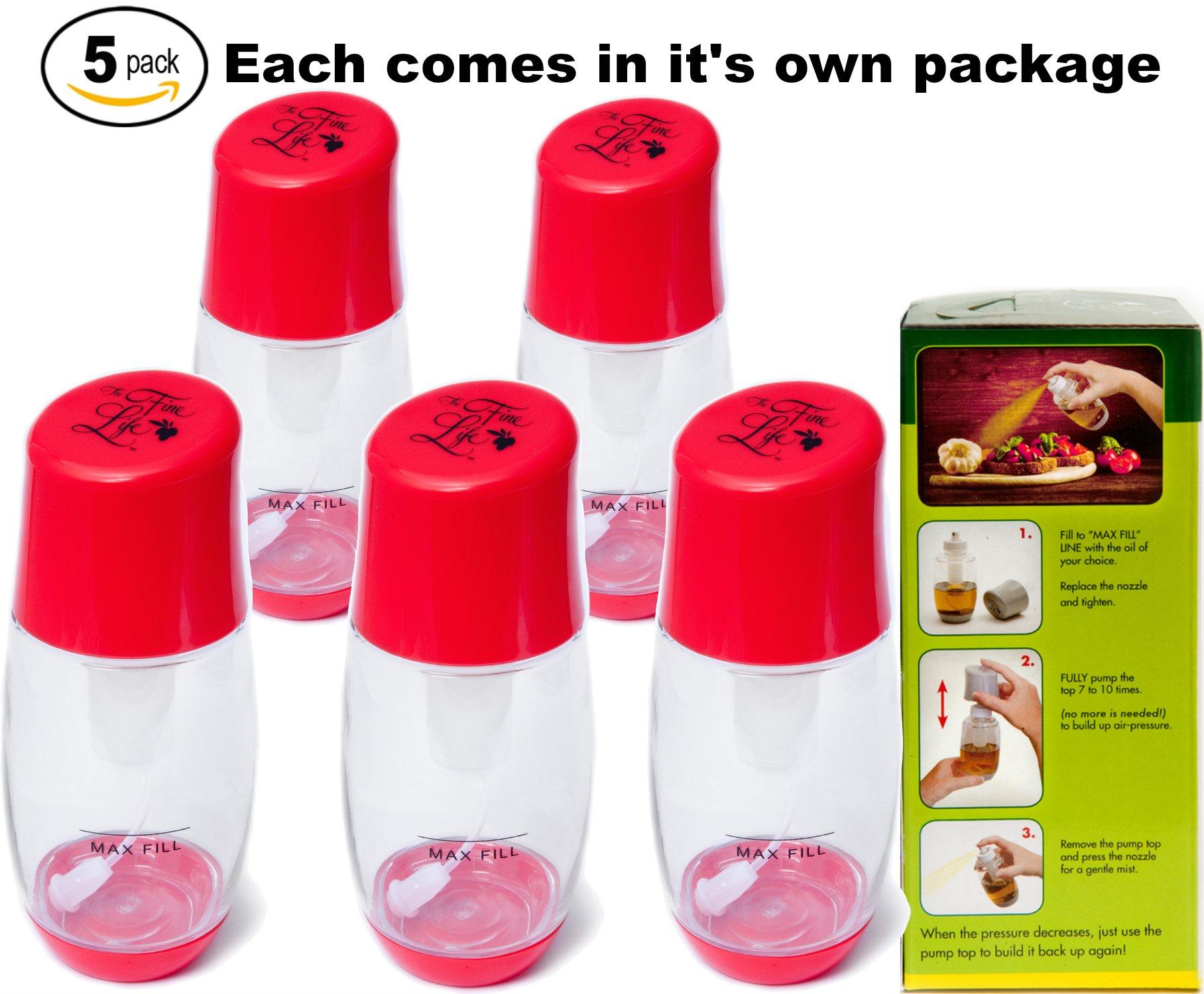 Ideal Kitchen Bundle Olive Oil Sprayer Mister - 5-Pack - Red