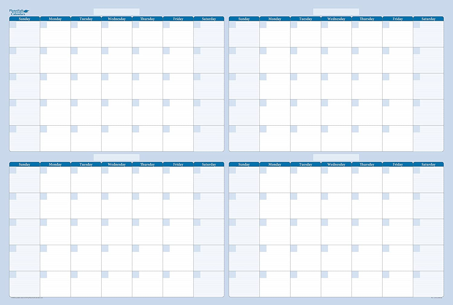 120-Day 4-Month Dry and Wet Erasable Wall Calendars by PlanetSafe Calendars. Best in It's Class. Non-ghosting or Staining (32 x 48, Sky Blue)