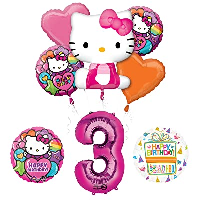 Hello Kitty 3rd Birthday Party Supplies and Balloon Bouquet Decorations: Toys & Games